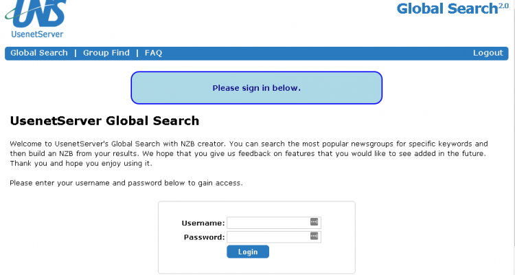 Usenetserver Global Search & NZB